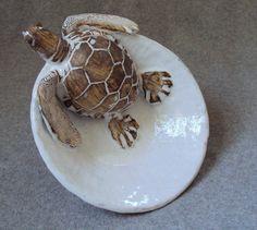Nautical Ceramic Sea Turtle Bowl by Shayne Greco by shaynegreco Pottery Animals, Ceramic Animals, Clay Animals, Sea Turtle Bowl, Turtle Love, Clay Turtle, Ceramic Clay, Ceramic Pottery, Pottery Art