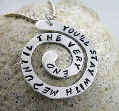 Harry Potter Jewelry Spiral Necklace Until the Very by foxwise from Foxwise. Saved to Harry Potter is the best! Harry Potter Schmuck, Harry Potter Necklace, Hand Stamped Necklace, Stamped Jewelry, Fandom Jewelry, Harry Potter Love, If I Stay, Mischief Managed, Ball Chain