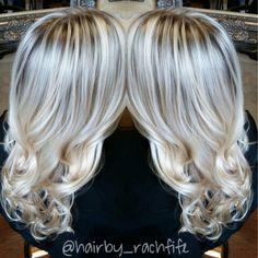 Gorgeous icy long blonde hair. Platinum and healthy thanks to olaplex! Love these soft curls Hair by Rachel Fife @ Sara Fraraccio Salon
