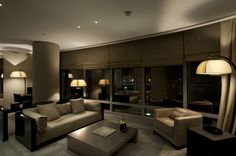 The living room of the Armani Dubai Suite at Armani Hotel Dubai at Burj Khalifa, 1 Sheikh Mohammed bin Rashid Blvd. House Paint Interior, Apartment Interior Design, Living Room Interior, Interior Decorating, Decorating Ideas, Decor Ideas, Hotel Armani, Armani Interiors, Office Interiors