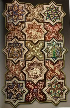 Ilkhanid period tile work from Damghan, Iran, dated 1267CE, dated in the Persian inscription on the rim.