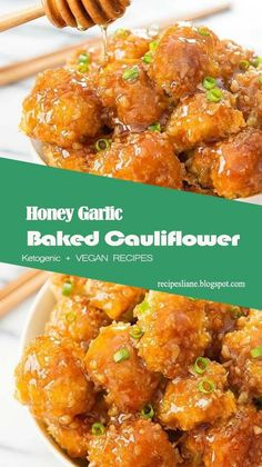 Crunchy baked breaded cauliflower pieces are coated with honey garlic sauce. A great vegetarian option! Vegan Cauliflower Wings, Baked Cauliflower Wings, Cauliflower Bread, Cauliflower Recipes, Califlower Wings, Buffalo Cauliflower, Roasted Cauliflower, Vegetarian Recipes, Cooking Recipes