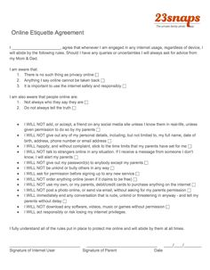 23snaps Online Ettiquette Agreement Would you make your child sign an online etiquette agreement?