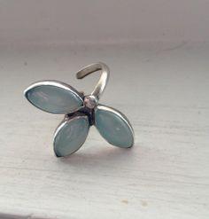 Aqua Chalcedony Tri Petal Sterling Silver Adjustable Ring | Katrinaalexa - Jewelry on ArtFire