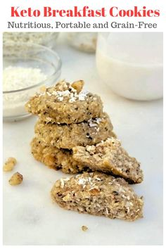 Keto Breakfast Cookies {with Grain-Free Hemp Hearts} Keto Breakfast Cookies with hemp hearts (seeded hemp) and shredded coconut flakes are nutritious portable breakfast cookies for on the go! Keto Foods, Keto Snacks, Best Keto Breakfast, Nutritious Breakfast, Breakfast Carbs, Breakfast Recipes, Ketogenic Breakfast, Health Breakfast, Breakfast Ideas