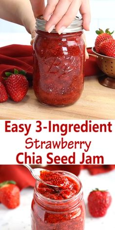 healthy food This Easy Chia Seed Strawberry Jam is the perfect healthy alternative to conventional jam! It's made with 3 healthy, natural, whole-food ingredients and it's qui Whole Foods, Whole Food Recipes, Natural Food Recipes, Whole Food Desserts, Healthy Drinks, Healthy Snacks, Nutrition Drinks, Healthy Diet Recipes, Healthy Nutrition
