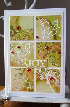 Beautiful inchie Christmas card  Love the backgrounds and white embossing