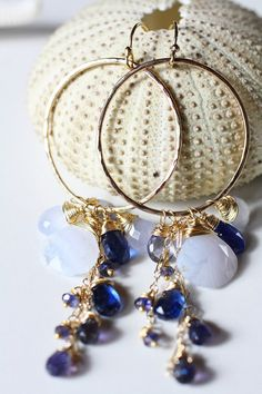 The Olivola Earrings, Pale Blue Lace Agate, Deep Blue Kyanite, gemstone hoop earrings.