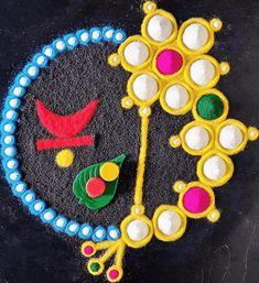 Best Rangoli Design, Free Hand Rangoli Design, Small Rangoli Design, Colorful Rangoli Designs, Rangoli Designs Diwali, Diwali Rangoli, Easy Rangoli, Rangoli Borders, Rangoli Patterns