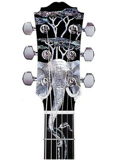 Elephant inlay on the headstock of a Morgan guitar
