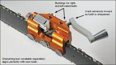 Hand-Crank Chain-Saw Sharpener - Lee valley Chainsaw Sharpening Tools, Chainsaw Sharpener, Chainsaw Repair, Chainsaw Mill, Stihl Chainsaw, Chainsaw Parts, Wood Tools, Diy Tools, Farm Tools