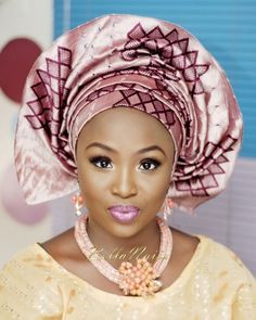 Nigerian Wedding Makeup aso oke gele beads naija bellevous makeovers bride yoruba