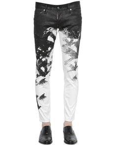 DSquared² | White Cool Guy Crow-print Skinny Jeans
