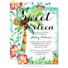 Modern watercolor luau sweet 16 birthday party invitations. A fun tropical theme featuring a palm tree, hibiscus flower and pineapple.