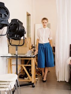Love this. Blue jean skirt, white button up.