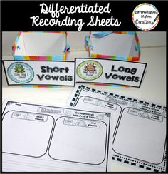 Free long and short vowel sorts! Frog and Toad sort long and short vowels. Fun activities for distinguishing between long and short vowel sounds. Free recording sheets, differentiated sorting cards, differentiated Cut & Paste activities, and DIY directions to create frog and toad container creations.