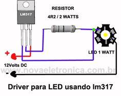 Este circuito eletrônico de Driver para Led usa o regulador de tensão variável LM317. O regulador é usado como limitador de corrente para o Led de 1 Watt ..