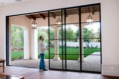 These doors! Steel Pocket Sliding Doors - mediterranean - patio - orange county - by Euroline Steel Windows French Doors Patio, French Patio, Modern Patio Doors, Steel Windows, Sliding Windows, Sliding Patio Doors, Front Doors, Barn Doors, Aluminium Sliding Doors
