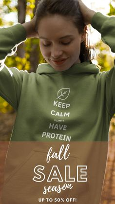Being vegan means you're gonna get asked where do you get your protein a LOT, and wearing this hoodie is one funny way to deal with it! 😂😂 🍁 Enjoy our Fall Season Sale with 50% OFF #veganlifestyle #veganclothing #vegantshirts #veganhoodies