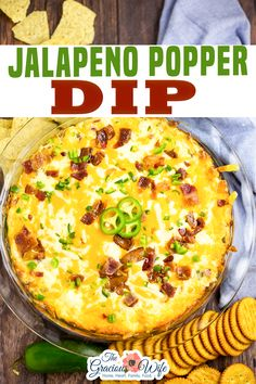 Jalapeno Popper Dip is a creamy, cheesy dip with spicy jalapenos and savory bacon. Even better than the familiar appetizer, this dip goes fast! Jalapeno Popper Dip is the ultimate game day food. It's warm, gooey, cheesy, spicy, and packed with bacon. It tastes even better than the frozen appetizer, and it's way easier to make this dip than to try to make your own poppers! | The Gracious Wife @thegraciouswife #popperdip #homemadepopperdip #partyfood #appetizers #diprecipes #thegraciouswife Dip Recipes, Appetizer Recipes, Cooking Recipes, Sweets Recipes, Appetizers, Thanksgiving Recipes, Christmas Recipes, Christmas Ideas, Yummy Healthy Snacks