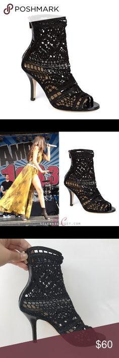 """Vince Camuto Signature ankle booties Crochet lace, patent leather, zippered back, 3.5"""", made in Italy, s/s 2013 collection, lace is in good condition, soles and inside of bottom has marking from wear and tear 