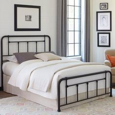 Shop Leggett and Platt Baldwin Black Cal King Panel Bed with great price, The Classy Home Furniture has the best selection of Metal Beds to choose from Panel Headboard, Headboard And Footboard, Iron Headboard, Queen Headboard, Headboards, Black Queen Bed, Black King, Leggett And Platt, Kids Bedroom Furniture