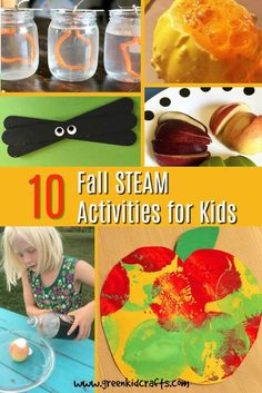10 Fall crafts and activities for kids. Fall STEAM for kids to do on chilly or rainy days this autumn. Science, Technology, Engineering, Art and Math...