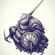 Commission work of Siegward of Catarina #darksouls3 #darksouls #ink #art #marker #siegward #game