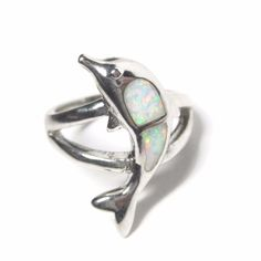 Opal Inlay Dolphin Ring Sterling Size 7 Figural