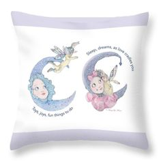 """Click the image to see this new toss pillow on Fine Art America. Nancy Lee Moran drew the art by hand, """"Toys, Joys, Baby And Moon."""" #pillow #babygift #babyshowergift #mothersdaygift #moon #children #baby #boy #girl #love #contemporary #cute #dreamland #lavender #NancyLeeMoran #FineArtAmerica #babynursery #momlife #babyart"""