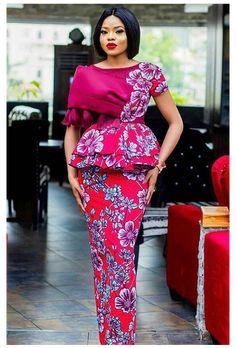 Ankara Skirt And Blouse, Ankara Dress Styles, Lace Dress Styles, Latest African Fashion Dresses, African Dresses For Women, African Print Fashion, African Attire, Blouse Styles, Ankara Fashion