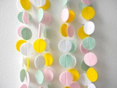 Felt circles party garland in pink seafoam yellow by laxtoyvr