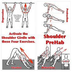 Shoulder PreHab Activate the Shoulder Girdle and create more power for the upper body with these four moves!  Shoulder Depression Shoulder Protraction  Shoulder Elevation Shoulder Retraction  For more details, check out: https://www.facebook.com/prehabexe (Muscle Activation Movements)