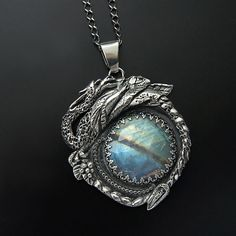 Behind The Ninth Galaxy | Silver Dragon Pendant With Moonstone