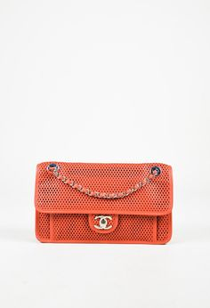 32a8fb0b3566 Chanel Red Perforated Leather Silver Tone