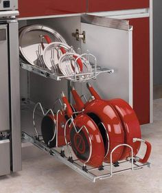 This Two-Tier Kitchen Cabinet Cookware Organizer by Rev-A-Shelf is a great way to organize your cookware. With a lid rack and dividers for your pots and pans you are sure to rock kitchen organization. Pan Organization, Kitchen Cabinet Organization, Kitchen Storage, Cabinet Organizers, Pan Storage, Lid Organizer, Kitchen Decor, Cabinet Storage, Cabinet Space