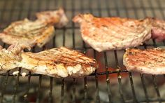 Hammered pork chops with a herb sauce on the barbecue