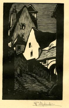View between houses, with couple on narrow, steep, street. c1919 Woodcut