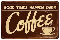Good Times Over Coffee Vintage Metal Cafe Sign 14 x 8