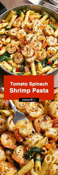 Tomato Spinach Shrimp Pasta — Bold flavors star in this one pot dinner, ready in 30 minutes. Al dente pasta is tossed with spicy grilled shrimps, tomatoes, fresh spinach, garlic, and a drizzle of o… Shrimp With Pasta, Garlic Shrimp Pasta, Healthy Shrimp Pasta, Meals With Shrimp, Lemon Butter Garlic Shrimp, Pesto Grilled Shrimp, Pasta Diet, Shrimp Pasta Dishes, Ways To Cook Shrimp