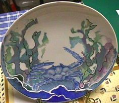 Blue Swimmer in weed by Jillian Varga Serving Bowls, Porcelain, Plates, Tableware, Weed, Blue, Painting, Art, Licence Plates