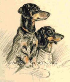 Two Dachshunds ~ Dogs, Lucy Dawson ~ Cross Stitch Pattern…