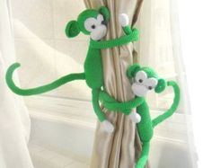 Monkey curtain tie back cotton yarn crochet monkey by thujashop