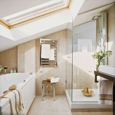 modern bathroom with sloped ceiling