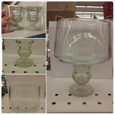 99 cent store hack: taper candle holder with a large candle votive. Makes a beautiful standing candle or flower vase. @Kristi Hale