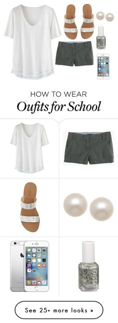 """""""Too much school left"""" by caitlinskatelin21 on Polyvore featuring Wrap, J.Crew, Essie and Honora"""