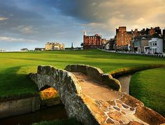 The Swilcan Bridge and burn on the 18th at the St Andrews Old Course. One of the most iconic views golf. Truly sacred golfing ground