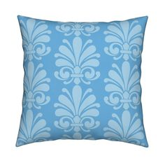 Catalan Throw Pillow featuring Sea Blue Flourish by thepinkhome | Roostery Home Decor