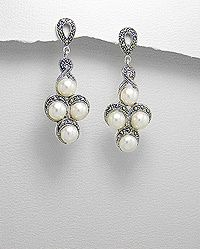 Vines of Jewels - FWP Marcasite Sterling Silver Dangle Earrings, $98.00 (http://www.vinesofjewels.com/fwp-marcasite-sterling-silver-dangle-earrings/)