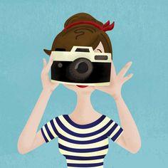 photographe, girl, camera, appareil photo